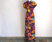 Vintage 60's Hawaiian Cheongsam cotton dress