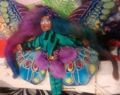 Faerie Doll Teeny Tiny Turquoise and Purple 2 and a half inch Tie Dyed