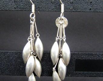 Vintage Sterling Silver 925 Mexico Dangle teardrop Earrings
