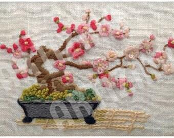 Vintage Needlepoint of Flowering Bonsai Tree, Instant digital download