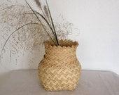 Vintage Basket,  Hand Woven Reed Basket,  Vase Shaped Bamboo Basket