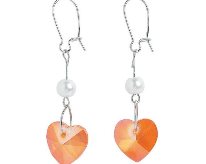 Pink Iridescent Heart Earrings