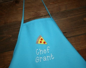 Pizza Party--Personalized Embroidered Kids apron----2 youth sizes and LOTS of colors available