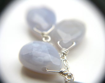 Blue Chalcedony Earrings . Blue Gemstone Cluster Earrings . Blue Stone Earrings . Silver Wire Wrap Earrings - Celestial Collection