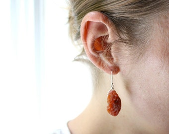 Fire Opal Earrings Sterling Silver . Raw Opal Earrings . Rough Stone Earrings . Raw Gemstone Earrings - Optimism Collection