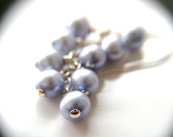 Something Blue for Bride Earrings . Pearl Cluster Earrings . Blue Pearl Earrings . Freshwater Pearl Earrings Silver - Melody Collection