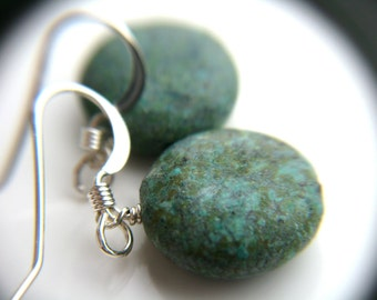 Raw Turquoise Earrings . Blue Stone Earrings . Genuine Turquoise Dangle Earrings . African Turquoise Earrings - Corinth Collection NEW
