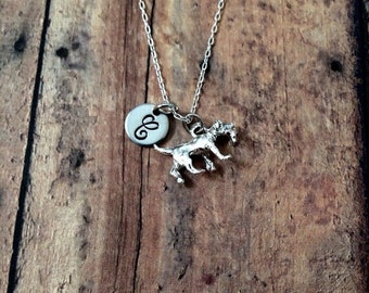 Retriever initial necklace - golden retriever necklace, dog necklace, retriever jewelry, dog breed jewelry, silver dog necklace