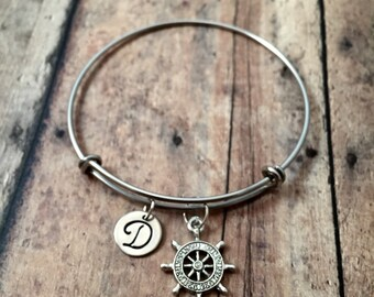 Ship's wheel initial bangle - ship jewelry, nautical jewelry, boat jewelry, ship wheel bracelet, boat bangle, silver ship wheel bracelet