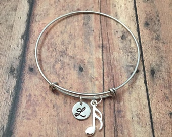 Music note initial bangle- music note jewelry, gift for music teacher, band jewelry, sixteenth note bangle, musician jewelry, music bracelet