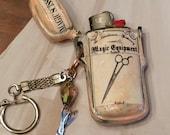 HairStylist Shabby Chic lighter Case/Bic /Mini/ Key Chain