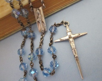 Vintage Sterling and Crystal Rosary blue aurora bead Creed Rosary
