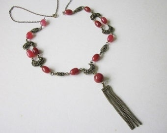 Edwardian Glass Bead Necklace long brass and bead necklace