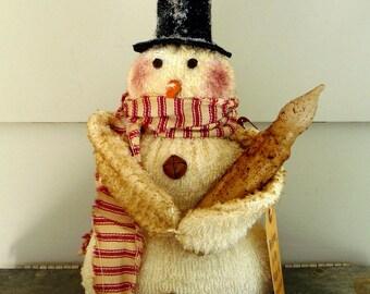 Primitive Snowman prim candle  Christmas decoration