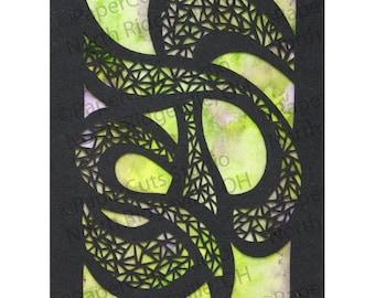 Serpentine Papercut ACEO, Handcut Original, Watercolor