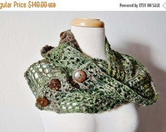 Sale Hand Knit Scarf - FAUN Forest Cowl/Chunky Lace Knit Scarf. One of a Kind Hanspun Handknit Women's Scarf / Poncho With Buttons, Boho, Fo