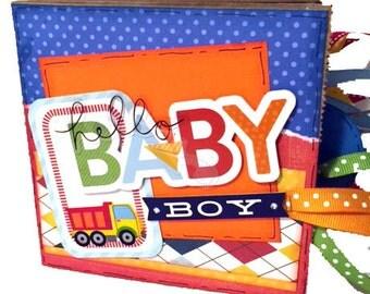 Hello Baby Boy Scrapbook - New Baby Boy Photo Album - Mini Paper Bag Album
