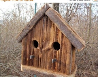 Rustic Cedar Birdhouse Two Entry Holes Functional Primitive