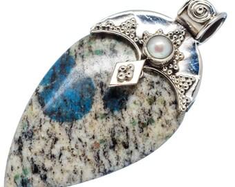 Azurite Necklace - K2 Stone Necklace Pendant - Gemstone Jewelry  - .925 Sterling Silver Necklace
