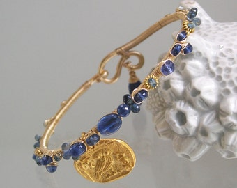 Blue Kyanite Gold Filled Bangle, Tanzanite Bracelet, Large Gold Owl Coin Charm, Wire Wrapped, Navy Sapphires, Original Design, Signature