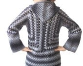 CLEARANCE 50% SALE Crochet Cardigan by Afra Black Grey
