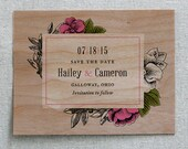 Wooden Save the Date Card, Vintage Storybook Floral Real Wood