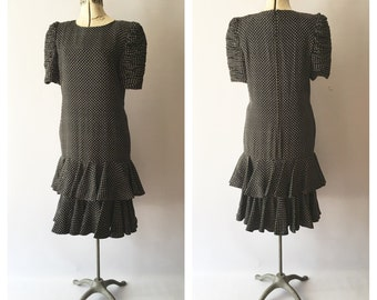 I Magnin Ruched Sleeve New Old Stock Silk Black and White dress Vintage Size 10
