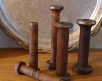 5 Vintage Wooden Industrial Spool Bobbins