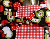 Set of 4 Reversible Placemats with Silverware/Napkin Pockets Ready to Ship Immediately