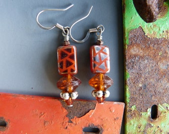Copper Glass Bead Earrings with Mirrored Triangles