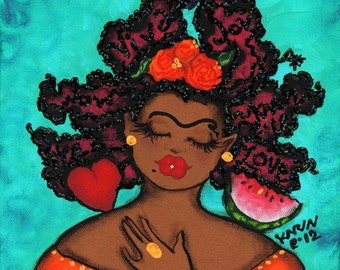 Prints:5x7  A Little Frida In Us All !  Affirmation Natural Hair by karin turner KarinsArt  watermelon  african american