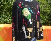 vintage 90s sweater CHAMPAGNE 3-D cardigan applique funny novelty black party knit Large wtf