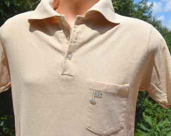 60s vintage shirt golf polo POCKET embroidered tennis jc penney 19th hole Medium Large preppy 70s