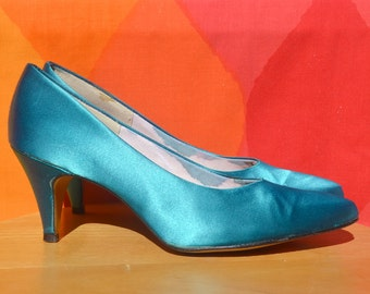 vintage 80s high heels PUMPS teal blue panthers dyed satin 7 A narrow 3 inch original box