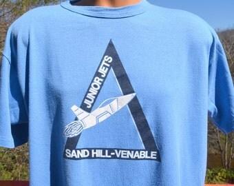 vintage tee shirt 80s JETS sand hill school north carolina blue t-shirt XL Large