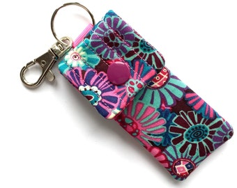 Key chain usb pouch floral print fabric key ring essential oil rollerball case