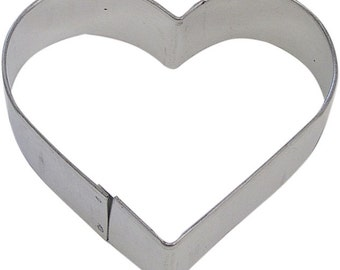 Heart Cookie Cutter 4 in  - for cookie dough, fondant, craft clay, bread, candy, brownies, soft fruit, and marshmallows  (B1107)