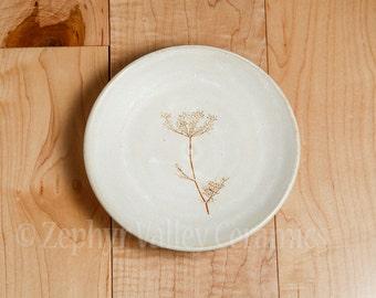 Ceramic Trinket Ring Dish -  Stoneware Tea Light Holder - Tea Bag Holder - Soap Dish - Botanical - Dill - MADE TO ORDER