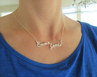 Custom Name Necklace (Full name), Sterling Silver, 14k GF, 14k Rose GF, Wire name necklace, personalized custom name necklace