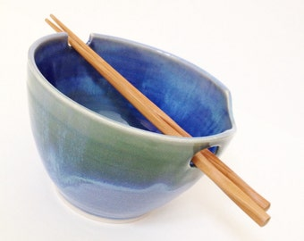 Ocean Blues - Wheel Thrown Noodle Bowl - Made To Order