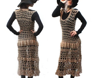Boho crochet coachella vegan dress cover up lace butterfly dress  hemp sand beige