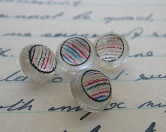 Textured Glass Buttons with Color Stripes