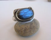 Labradorite Sterling Artisan Oxidized Handcrafted Ring