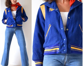 Vintage 80s Blue Wool and Mustard Yellow Leather Letterman Jacket (size small, medium)