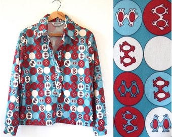 FALL SALE / 20% off Vintage 70s Penguins and Polka Dots Novelty Print Long Sleeved Collared Shirt (size medium, large)