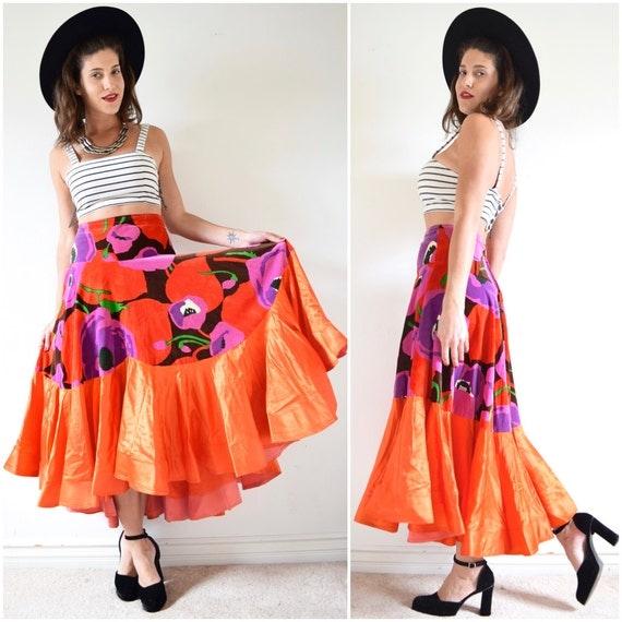 SPRING SALE/ 20% off Vintage 60s 70s Bailadora High Waisted Floral Print Velvet High Low Orange Satin Flamenco Skirt (size medium, large)