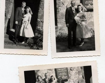 Vintage Wedding photo lot of 9 color and black and white bride groom 50s photos