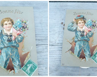 Vintage antique  1900/1910 French mechanical system postcard embossed /  boy moving hat