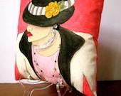 GABRIELLE FASHION PILLOW, hand painted pillow, decorative pillow, Paris, French fashion, Chanel, deep pink, grey, fashionista, woman