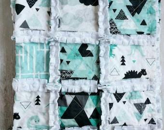 Dinosaur Minky Rag Quilt For Baby/Toddler Boy - Crib Quilt - Stroller/Car Seat Quilt - Turquoise, Black, Gray
